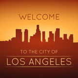 Los Angeles. The city of Los Angeles. Black and white silhouette and lettering Royalty Free Stock Images