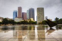 Los Angeles city center with a reflecting pool in the foreground Stock Image