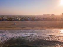 Los Angeles city coastline aerial view stock photo