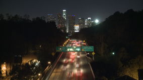 Los angeles city evening traffic stock video