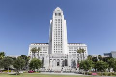 Los Angeles City Hall. Los Angeles, Calfornia, USA - June 28, 2014:  Editorial view of the historic art deco city of Los Angeles city hall building Royalty Free Stock Photos