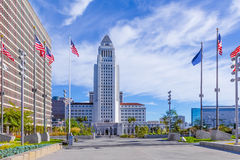 Los Angeles City Hall with dramatic cloudscape, California Royalty Free Stock Images