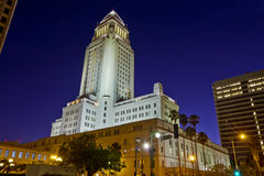 Los Angeles City Hall At Nightime Royalty Free Stock Image