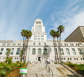 Los Angeles city hall under a blue sky Stock Images