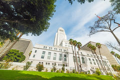 Los Angeles city hall under a blue sky Royalty Free Stock Image