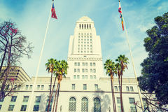 Los Angeles city hall in vintage tone. California Royalty Free Stock Photo