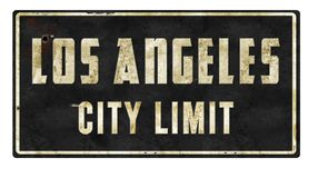 Los Angeles City Limit Retro Sign. Los Angeles City Limit vintage street sign metal tin rustic old antique arrow Oscars Academy Movies Logo Stock Image