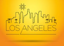 Los Angeles City Line Silhouette Typographic Design royalty free illustration