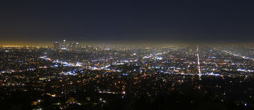 Los Angeles city at night. Aerial view of Los Angeles city at night viewed from the Griffith Observatory, California, U.S.A Stock Photography