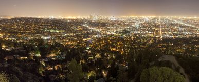 Los Angeles city at night. Panoramic aerial view of Los Angeles city at night, California, USA Royalty Free Stock Image