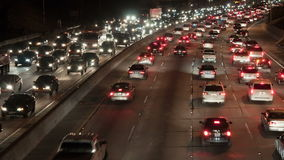 Los angeles city night traffic stock video