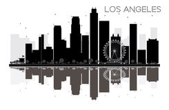 Los Angeles City skyline black and white silhouette. With reflection. Vector illustration. Simple flat concept for tourism presentation, banner, placard or web Royalty Free Stock Image