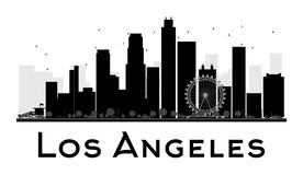 Los Angeles City skyline black and white silhouette Stock Photo