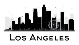 Los Angeles City skyline black and white silhouette Stock Photo