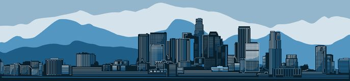 Los Angeles city skyline detailed silhouette. Vector illustration royalty free illustration