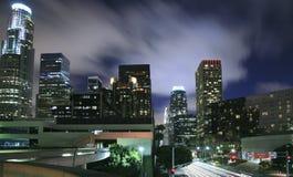 Los Angeles city skyline at night. Los Angeles city skyline panoramic at night royalty free stock photography