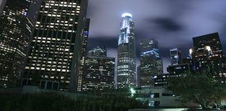 Los Angeles city skyline at night. Los Angeles city skyline panoramic at night royalty free stock image