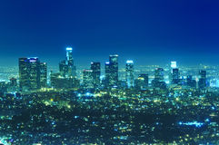 Los Angeles city skyline at night. Panoramic view of Los Angeles city skyline at night Royalty Free Stock Photography