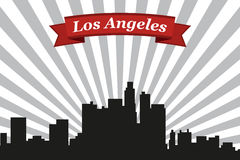 Los Angeles city skyline with rays background and ribbon Royalty Free Stock Photos