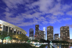Los Angeles city skyline at twilight Stock Images
