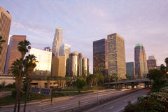 Los Angeles city at sunset Royalty Free Stock Images