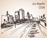Los Angeles cityscape sketch. Stock Photography
