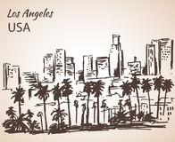 Los Angeles cityscape sketch. Royalty Free Stock Images