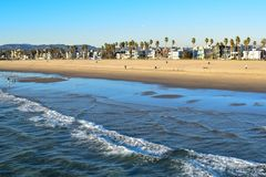 Los Angeles Coast viewed from Venice Beach Fishing Pier royalty free stock images