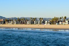 Los Angeles Coast viewed from Venice Beach Fishing Pier stock photography