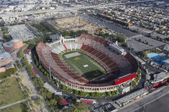 Los Angeles Coliseum Aerial View. Los Angeles, California, USA - April 12, 2017:  Aerial view of the historic Coliseum stadium near downtown and USC Royalty Free Stock Photos