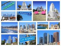 Los Angeles collage. Los Angeles photo collage with skylines, Hollywood and Santa Monica beach Stock Photography