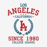 Los Angeles college typography for t-shirt. California slogan tee shirt, sport apparel print. LA vintage graphics. Vector. royalty free illustration