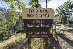 Echo Mtn Picnic Area Sign Angeles National Forest. Los Angeles County, California, USA - June 3, 2018:  Echo Mtn Picnic Area sign in the Angeles National Forest Royalty Free Stock Photography