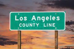 Los Angeles County Sign with Sunset Sky Royalty Free Stock Images