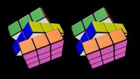 Los Angeles De V.S. 01 mei 2018 De transformatie van de kubus van Rubik met animatie en omwenteling animeer stock footage