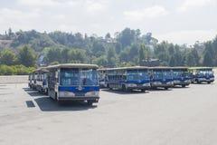 Los Angeles - de V.S., 2 Oktober: Excursie Blauwe Bussen in Één Standi stock foto's