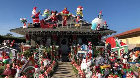 Beautiful christmas decoration of American style house. Los Angeles, DEC 2: Beautiful christmas decoration of American style house on DEC 2, 2017 at Temple City stock video footage