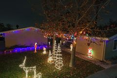 Beautiful christmas lights in upper Hastings Ranch neighborhood. Los Angeles, DEC 15: Beautiful christmas lights in upper Hastings Ranch neighborhood on DEC 15 stock photography