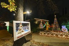 Beautiful christmas lights in upper Hastings Ranch neighborhood. Los Angeles, DEC 15: Beautiful christmas lights in upper Hastings Ranch neighborhood on DEC 15 stock images