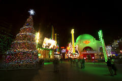 LOS ANGELES DECEMBER 24th: Universal Studios in Los angles lights up Royalty Free Stock Photo