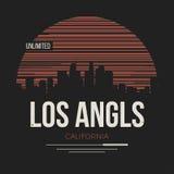 Los Angeles diagram, t-skjorta design, utslagsplatstryck, typografi, embl stock illustrationer
