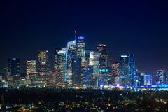 Los Angeles do centro no nigth imagem de stock royalty free