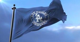 Los Angeles Dodgers flag, american professional baseball team, waving - loop. Flag of the team of the Los Angeles Dodgers, american professional baseball team stock video