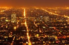Los Angeles Down Town. Los Angeles Urban Sprawl, Night Glow stock photography