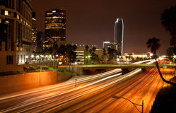 Los Angeles Downtown. View of Los Angeles downtown at night showing new buildings being part of the successful redevelopment of the downtown area. With a busy Royalty Free Stock Image