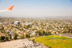 Los Angeles downtown, bird's eye view at sunny day Stock Image