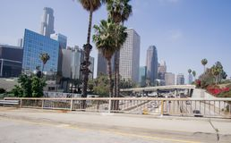 Los Angeles downtown buildings skyline and highway traffic Royalty Free Stock Photo