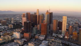 Los Angeles Downtown Dusk Aerial  stock video footage