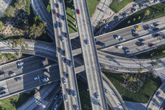 Los Angeles Downtown Four Level Interchange Aerial View Royalty Free Stock Images