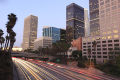 Los Angeles downtown at night Stock Photos